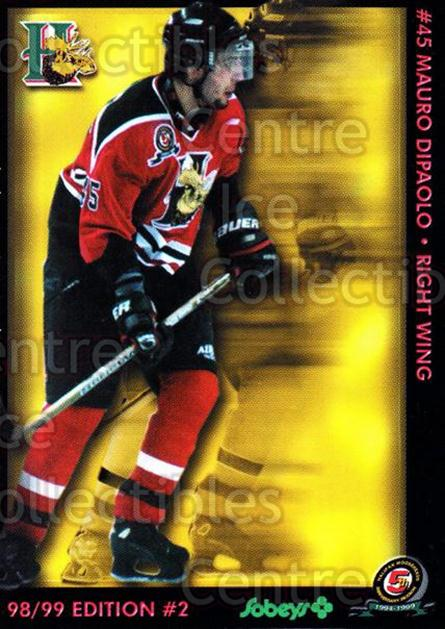 1998-99 Halifax Mooseheads Series Two #5 Mauro DiPaolo<br/>7 In Stock - $3.00 each - <a href=https://centericecollectibles.foxycart.com/cart?name=1998-99%20Halifax%20Mooseheads%20Series%20Two%20%235%20Mauro%20DiPaolo...&quantity_max=7&price=$3.00&code=539834 class=foxycart> Buy it now! </a>