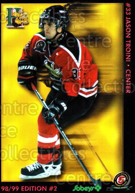 1998-99 Halifax Mooseheads Series Two #22 Jason Troini<br/>5 In Stock - $3.00 each - <a href=https://centericecollectibles.foxycart.com/cart?name=1998-99%20Halifax%20Mooseheads%20Series%20Two%20%2322%20Jason%20Troini...&quantity_max=5&price=$3.00&code=539841 class=foxycart> Buy it now! </a>