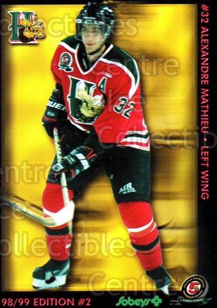 1998-99 Halifax Mooseheads Series Two #13 Alexander Mathieu<br/>5 In Stock - $3.00 each - <a href=https://centericecollectibles.foxycart.com/cart?name=1998-99%20Halifax%20Mooseheads%20Series%20Two%20%2313%20Alexander%20Mathi...&quantity_max=5&price=$3.00&code=539842 class=foxycart> Buy it now! </a>