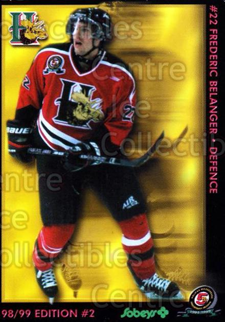 1998-99 Halifax Mooseheads Series Two #1 Frederic Belanger<br/>6 In Stock - $3.00 each - <a href=https://centericecollectibles.foxycart.com/cart?name=1998-99%20Halifax%20Mooseheads%20Series%20Two%20%231%20Frederic%20Belang...&quantity_max=6&price=$3.00&code=539845 class=foxycart> Buy it now! </a>
