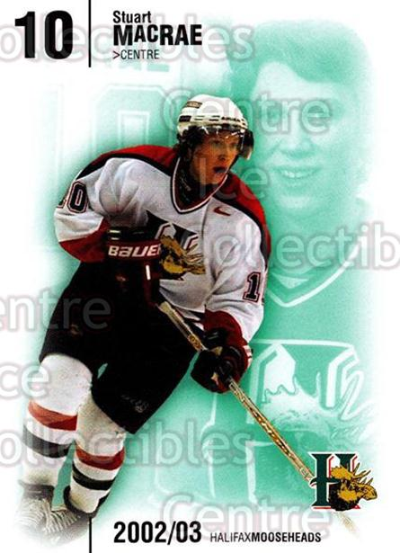 2002-03 Halifax Mooseheads #16 Stuart MacRae<br/>7 In Stock - $3.00 each - <a href=https://centericecollectibles.foxycart.com/cart?name=2002-03%20Halifax%20Mooseheads%20%2316%20Stuart%20MacRae...&quantity_max=7&price=$3.00&code=539900 class=foxycart> Buy it now! </a>