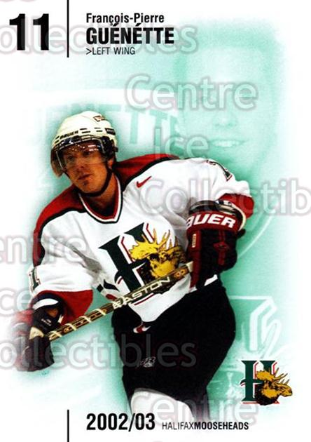 2002-03 Halifax Mooseheads #10 Francois-Pierre Guenette<br/>6 In Stock - $3.00 each - <a href=https://centericecollectibles.foxycart.com/cart?name=2002-03%20Halifax%20Mooseheads%20%2310%20Francois-Pierre...&quantity_max=6&price=$3.00&code=539901 class=foxycart> Buy it now! </a>