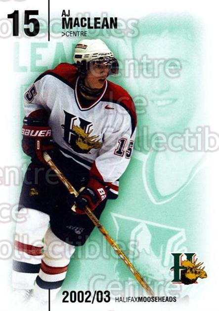 2002-03 Halifax Mooseheads #15 AJ MacLean<br/>5 In Stock - $3.00 each - <a href=https://centericecollectibles.foxycart.com/cart?name=2002-03%20Halifax%20Mooseheads%20%2315%20AJ%20MacLean...&quantity_max=5&price=$3.00&code=539902 class=foxycart> Buy it now! </a>