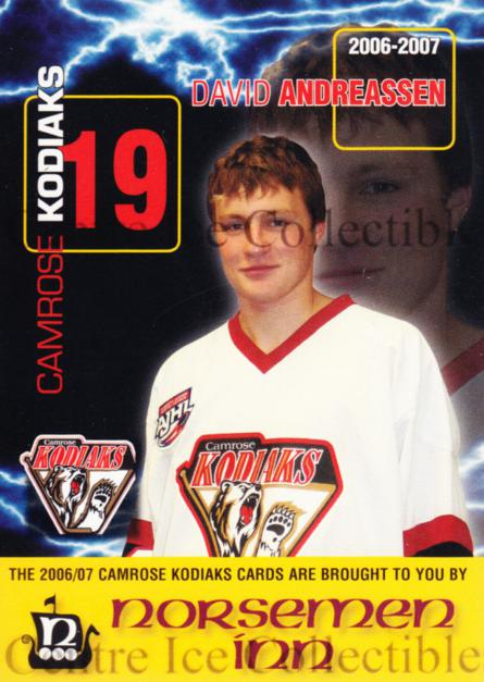 2006-07 Camrose Kodiaks #1 David Andreassen<br/>2 In Stock - $3.00 each - <a href=https://centericecollectibles.foxycart.com/cart?name=2006-07%20Camrose%20Kodiaks%20%231%20David%20Andreasse...&quantity_max=2&price=$3.00&code=540258 class=foxycart> Buy it now! </a>