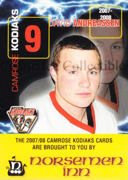 2007-08 Camrose Kodiaks #1 David Anderson<br/>4 In Stock - $3.00 each - <a href=https://centericecollectibles.foxycart.com/cart?name=2007-08%20Camrose%20Kodiaks%20%231%20David%20Anderson...&quantity_max=4&price=$3.00&code=540266 class=foxycart> Buy it now! </a>