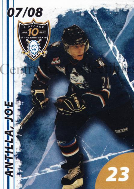 2007-08 Kootenay Ice #1 Joe Antilla<br/>1 In Stock - $3.00 each - <a href=https://centericecollectibles.foxycart.com/cart?name=2007-08%20Kootenay%20Ice%20%231%20Joe%20Antilla...&quantity_max=1&price=$3.00&code=540291 class=foxycart> Buy it now! </a>