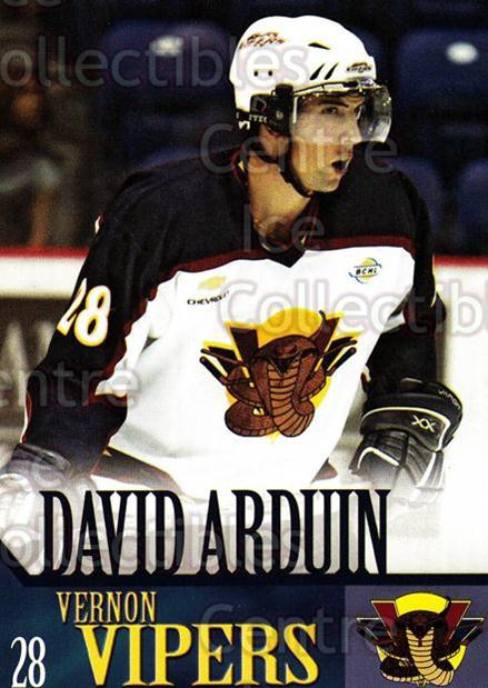 2005-06 Vernon Vipers #1 David Arduin<br/>2 In Stock - $3.00 each - <a href=https://centericecollectibles.foxycart.com/cart?name=2005-06%20Vernon%20Vipers%20%231%20David%20Arduin...&quantity_max=2&price=$3.00&code=540496 class=foxycart> Buy it now! </a>