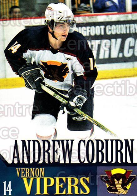 2005-06 Vernon Vipers #6 Andrew Coburn<br/>1 In Stock - $3.00 each - <a href=https://centericecollectibles.foxycart.com/cart?name=2005-06%20Vernon%20Vipers%20%236%20Andrew%20Coburn...&quantity_max=1&price=$3.00&code=540501 class=foxycart> Buy it now! </a>