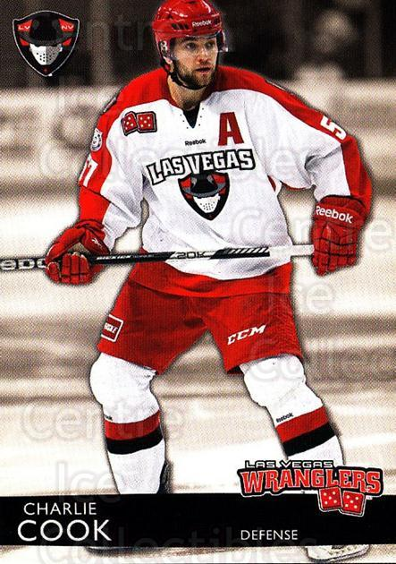 2012-13 Las Vegas Wranglers #4 Charlie Cook<br/>2 In Stock - $3.00 each - <a href=https://centericecollectibles.foxycart.com/cart?name=2012-13%20Las%20Vegas%20Wranglers%20%234%20Charlie%20Cook...&quantity_max=2&price=$3.00&code=540631 class=foxycart> Buy it now! </a>
