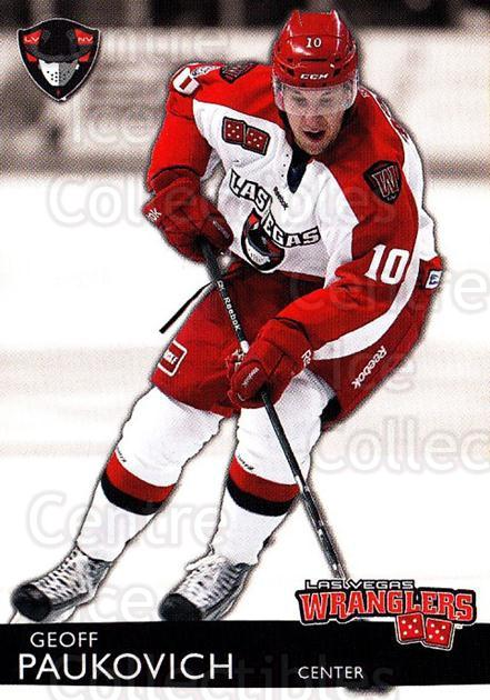 2012-13 Las Vegas Wranglers #20 Geoff Paukovich<br/>2 In Stock - $3.00 each - <a href=https://centericecollectibles.foxycart.com/cart?name=2012-13%20Las%20Vegas%20Wranglers%20%2320%20Geoff%20Paukovich...&quantity_max=2&price=$3.00&code=540647 class=foxycart> Buy it now! </a>