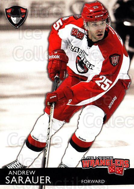 2012-13 Las Vegas Wranglers #22 Andrew Sarauer<br/>1 In Stock - $3.00 each - <a href=https://centericecollectibles.foxycart.com/cart?name=2012-13%20Las%20Vegas%20Wranglers%20%2322%20Andrew%20Sarauer...&quantity_max=1&price=$3.00&code=540649 class=foxycart> Buy it now! </a>