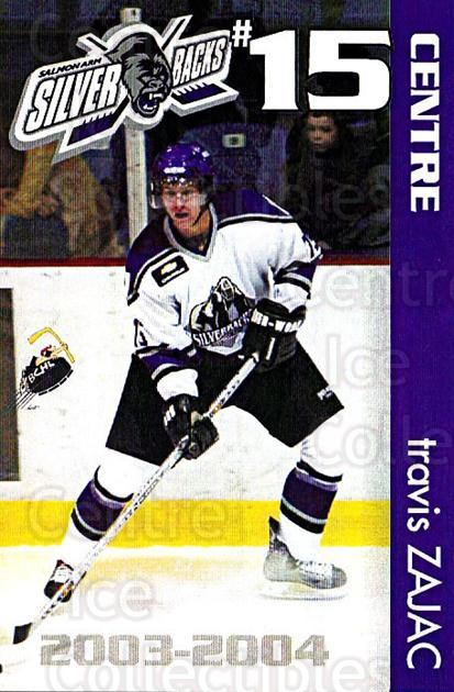 2003-04 Salmon Arm Silverbacks #21 Travis Zajac<br/>4 In Stock - $3.00 each - <a href=https://centericecollectibles.foxycart.com/cart?name=2003-04%20Salmon%20Arm%20Silverbacks%20%2321%20Travis%20Zajac...&quantity_max=4&price=$3.00&code=540771 class=foxycart> Buy it now! </a>