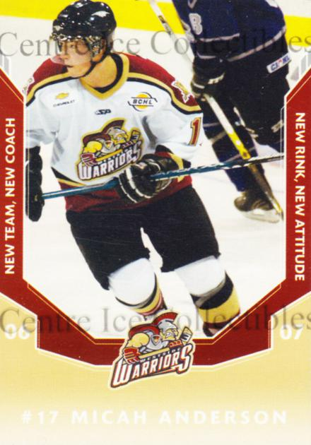 2006-07 Westside Warriors #2 Micah Anderson<br/>1 In Stock - $3.00 each - <a href=https://centericecollectibles.foxycart.com/cart?name=2006-07%20Westside%20Warriors%20%232%20Micah%20Anderson...&quantity_max=1&price=$3.00&code=540828 class=foxycart> Buy it now! </a>