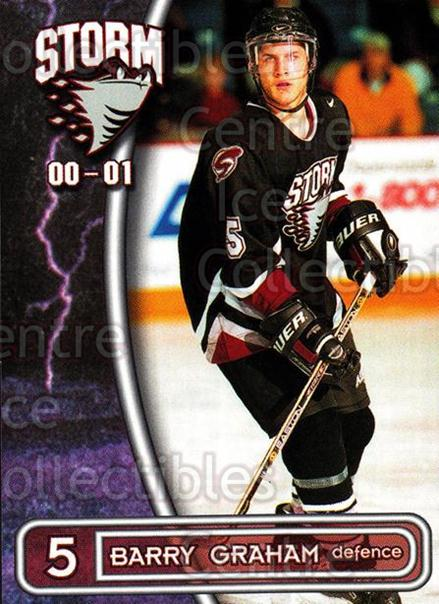 2000-01 Guelph Storm #11 Barry Graham<br/>3 In Stock - $3.00 each - <a href=https://centericecollectibles.foxycart.com/cart?name=2000-01%20Guelph%20Storm%20%2311%20Barry%20Graham...&quantity_max=3&price=$3.00&code=540918 class=foxycart> Buy it now! </a>