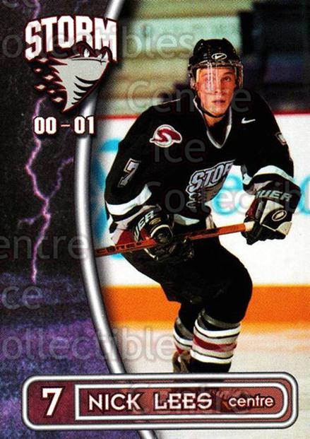 2000-01 Guelph Storm #17 Nick Lees<br/>1 In Stock - $3.00 each - <a href=https://centericecollectibles.foxycart.com/cart?name=2000-01%20Guelph%20Storm%20%2317%20Nick%20Lees...&quantity_max=1&price=$3.00&code=540920 class=foxycart> Buy it now! </a>