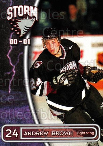 2000-01 Guelph Storm #3 Andrew Brown<br/>3 In Stock - $3.00 each - <a href=https://centericecollectibles.foxycart.com/cart?name=2000-01%20Guelph%20Storm%20%233%20Andrew%20Brown...&quantity_max=3&price=$3.00&code=540935 class=foxycart> Buy it now! </a>