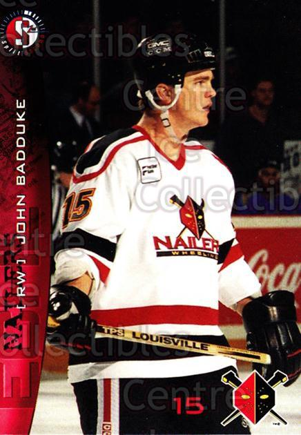 1996-97 Wheeling Nailers #2 John Badduke<br/>1 In Stock - $3.00 each - <a href=https://centericecollectibles.foxycart.com/cart?name=1996-97%20Wheeling%20Nailers%20%232%20John%20Badduke...&quantity_max=1&price=$3.00&code=54261 class=foxycart> Buy it now! </a>