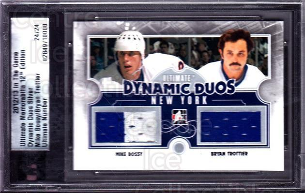 2012-13 ITG Ultimate Memorabilia Dynamic Duos #1 Mike Bossy, Bryan Trottier<br/>1 In Stock - $20.00 each - <a href=https://centericecollectibles.foxycart.com/cart?name=2012-13%20ITG%20Ultimate%20Memorabilia%20Dynamic%20Duos%20%231%20Mike%20Bossy,%20Bry...&price=$20.00&code=543289 class=foxycart> Buy it now! </a>