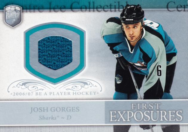 2006-07 Be A Player Portraits First Exposures Jersey #FEJG Josh Gorges<br/>1 In Stock - $5.00 each - <a href=https://centericecollectibles.foxycart.com/cart?name=2006-07%20Be%20A%20Player%20Portraits%20First%20Exposures%20Jersey%20%23FEJG%20Josh%20Gorges...&quantity_max=1&price=$5.00&code=544538 class=foxycart> Buy it now! </a>
