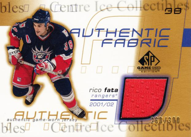 2001-02 SP Game Used Authentic Fabric Gold #AFRF Rico Fata<br/>1 In Stock - $5.00 each - <a href=https://centericecollectibles.foxycart.com/cart?name=2001-02%20SP%20Game%20Used%20Authentic%20Fabric%20Gold%20%23AFRF%20Rico%20Fata...&quantity_max=1&price=$5.00&code=544997 class=foxycart> Buy it now! </a>