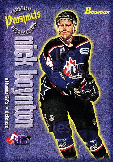 1997 Bowman CHL #154 Nick Boynton<br/>14 In Stock - $1.00 each - <a href=https://centericecollectibles.foxycart.com/cart?name=1997%20Bowman%20CHL%20%23154%20Nick%20Boynton...&quantity_max=14&price=$1.00&code=54574 class=foxycart> Buy it now! </a>