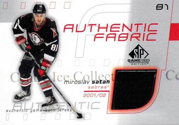 2001-02 SP Game Used Authentic Fabric #AFMS Miroslav Satan<br/>1 In Stock - $5.00 each - <a href=https://centericecollectibles.foxycart.com/cart?name=2001-02%20SP%20Game%20Used%20Authentic%20Fabric%20%23AFMS%20Miroslav%20Satan...&quantity_max=1&price=$5.00&code=546160 class=foxycart> Buy it now! </a>