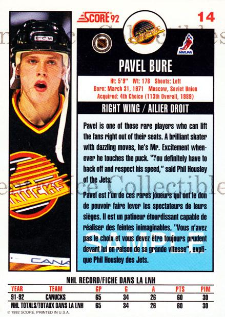 1992-93 Score Promos Samples Canadian #14 Pavel Bure<br/>21 In Stock - $3.00 each - <a href=https://centericecollectibles.foxycart.com/cart?name=1992-93%20Score%20Promos%20Samples%20Canadian%20%2314%20Pavel%20Bure...&quantity_max=21&price=$3.00&code=547598 class=foxycart> Buy it now! </a>