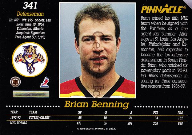 1993-94 Pinnacle Promos Samples Series Two #341 Brian Benning<br/>1 In Stock - $3.00 each - <a href=https://centericecollectibles.foxycart.com/cart?name=1993-94%20Pinnacle%20Promos%20Samples%20Series%20Two%20%23341%20Brian%20Benning...&quantity_max=1&price=$3.00&code=547779 class=foxycart> Buy it now! </a>