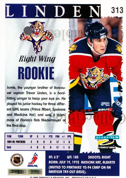 1995-96 Score Promos #313 Jamie Linden<br/>3 In Stock - $3.00 each - <a href=https://centericecollectibles.foxycart.com/cart?name=1995-96%20Score%20Promos%20%23313%20Jamie%20Linden...&quantity_max=3&price=$3.00&code=547810 class=foxycart> Buy it now! </a>