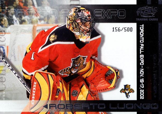 2002 Pacific Toronto Fall Expo Redemption #5 Roberto Luongo, Nikolai Khabibulin<br/>1 In Stock - $5.00 each - <a href=https://centericecollectibles.foxycart.com/cart?name=2002%20Pacific%20Toronto%20Fall%20Expo%20Redemption%20%235%20Roberto%20Luongo,...&quantity_max=1&price=$5.00&code=547824 class=foxycart> Buy it now! </a>