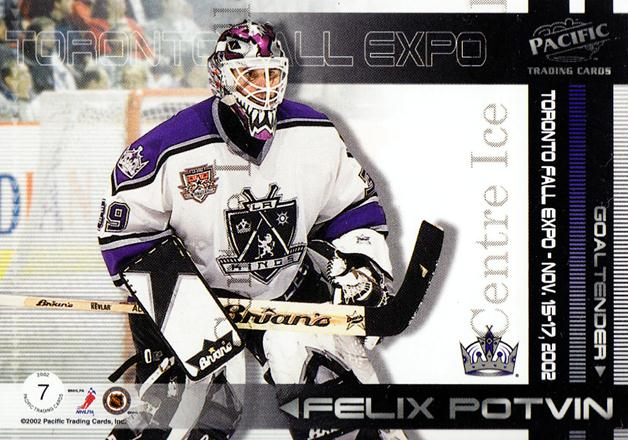 2002 Pacific Toronto Fall Expo Redemption #7 Jean-Sebastien Giguere, Felix Potvin<br/>3 In Stock - $5.00 each - <a href=https://centericecollectibles.foxycart.com/cart?name=2002%20Pacific%20Toronto%20Fall%20Expo%20Redemption%20%237%20Jean-Sebastien%20...&quantity_max=3&price=$5.00&code=547826 class=foxycart> Buy it now! </a>