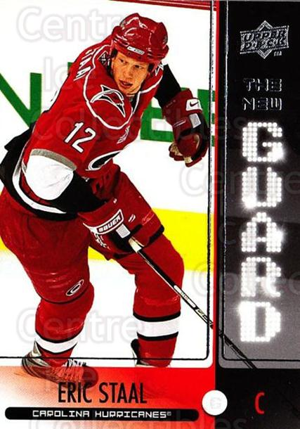 2008-09 Upper Deck The New Guard #7 Eric Staal<br/>2 In Stock - $2.00 each - <a href=https://centericecollectibles.foxycart.com/cart?name=2008-09%20Upper%20Deck%20The%20New%20Guard%20%237%20Eric%20Staal...&quantity_max=2&price=$2.00&code=549144 class=foxycart> Buy it now! </a>