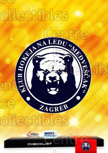 2012-13 Erste Bank Eishockey Liga EBEL #307 Checklist, KHL Medvescak Zagreb<br/>5 In Stock - $2.00 each - <a href=https://centericecollectibles.foxycart.com/cart?name=2012-13%20Erste%20Bank%20Eishockey%20Liga%20EBEL%20%23307%20Checklist,%20KHL%20...&quantity_max=5&price=$2.00&code=550753 class=foxycart> Buy it now! </a>