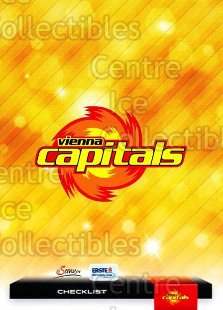 2012-13 Erste Bank Eishockey Liga EBEL #347 Checklist, EV Vienna Capitals<br/>6 In Stock - $2.00 each - <a href=https://centericecollectibles.foxycart.com/cart?name=2012-13%20Erste%20Bank%20Eishockey%20Liga%20EBEL%20%23347%20Checklist,%20EV%20V...&quantity_max=6&price=$2.00&code=550793 class=foxycart> Buy it now! </a>