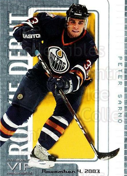 2003-04 ITG VIP Rookie Debut #56 Peter Sarno<br/>2 In Stock - $10.00 each - <a href=https://centericecollectibles.foxycart.com/cart?name=2003-04%20ITG%20VIP%20Rookie%20Debut%20%2356%20Peter%20Sarno...&quantity_max=2&price=$10.00&code=551868 class=foxycart> Buy it now! </a>