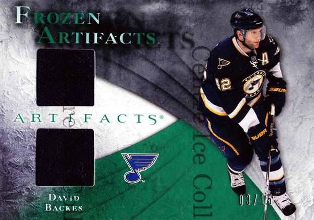 2010-11 UD Artifacts Frozen Artifacts Jersey Emerald #FADB David Backes<br/>1 In Stock - $10.00 each - <a href=https://centericecollectibles.foxycart.com/cart?name=2010-11%20UD%20Artifacts%20Frozen%20Artifacts%20Jersey%20Emerald%20%23FADB%20David%20Backes...&quantity_max=1&price=$10.00&code=552254 class=foxycart> Buy it now! </a>