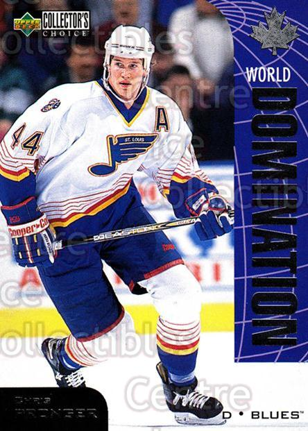 1997-98 Collectors Choice World Domination #14 Chris Pronger<br/>5 In Stock - $2.00 each - <a href=https://centericecollectibles.foxycart.com/cart?name=1997-98%20Collectors%20Choice%20World%20Domination%20%2314%20Chris%20Pronger...&quantity_max=5&price=$2.00&code=55472 class=foxycart> Buy it now! </a>
