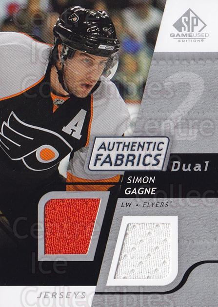 2008-09 Sp Game Used Dual Authentic Fabrics #AFGN Simon Gagne<br/>2 In Stock - $10.00 each - <a href=https://centericecollectibles.foxycart.com/cart?name=2008-09%20Sp%20Game%20Used%20Dual%20Authentic%20Fabrics%20%23AFGN%20Simon%20Gagne...&quantity_max=2&price=$10.00&code=556087 class=foxycart> Buy it now! </a>