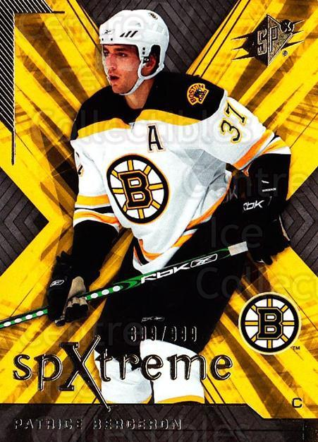2007-08 SPx SPXtreme #23 Patrice Bergeron<br/>1 In Stock - $5.00 each - <a href=https://centericecollectibles.foxycart.com/cart?name=2007-08%20SPx%20SPXtreme%20%2323%20Patrice%20Bergero...&quantity_max=1&price=$5.00&code=557910 class=foxycart> Buy it now! </a>