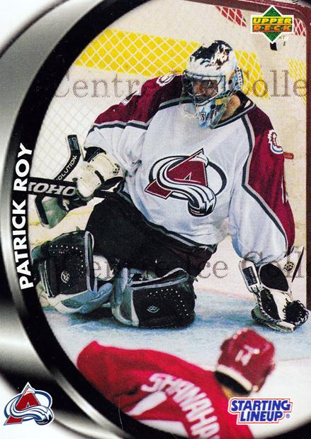 1998 Kenner Starting Lineup Cards Upper Deck #19 Patrick Roy<br/>5 In Stock - $5.00 each - <a href=https://centericecollectibles.foxycart.com/cart?name=1998%20Kenner%20Starting%20Lineup%20Cards%20Upper%20Deck%20%2319%20Patrick%20Roy...&quantity_max=5&price=$5.00&code=558031 class=foxycart> Buy it now! </a>