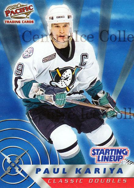 2000 Hasbro Starting Lineup Cards Classic Doubles #3 Paul Kariya<br/>2 In Stock - $5.00 each - <a href=https://centericecollectibles.foxycart.com/cart?name=2000%20Hasbro%20Starting%20Lineup%20Cards%20Classic%20Doubles%20%233%20Paul%20Kariya...&quantity_max=2&price=$5.00&code=558042 class=foxycart> Buy it now! </a>