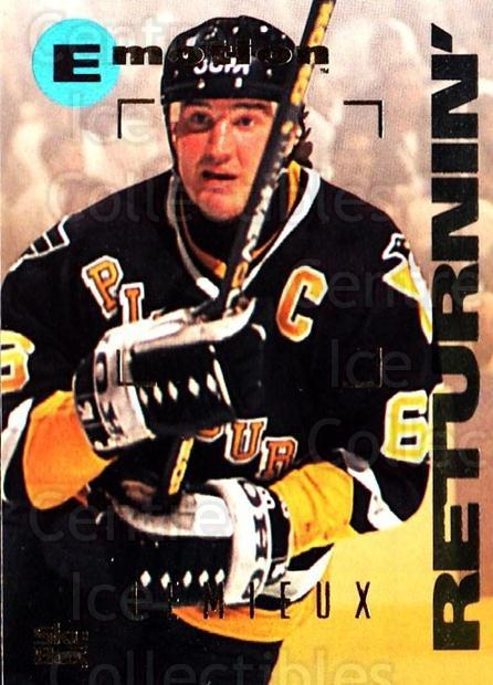1995-96 Emotion #138 Mario Lemieux<br/>2 In Stock - $3.00 each - <a href=https://centericecollectibles.foxycart.com/cart?name=1995-96%20Emotion%20%23138%20Mario%20Lemieux...&quantity_max=2&price=$3.00&code=560425 class=foxycart> Buy it now! </a>