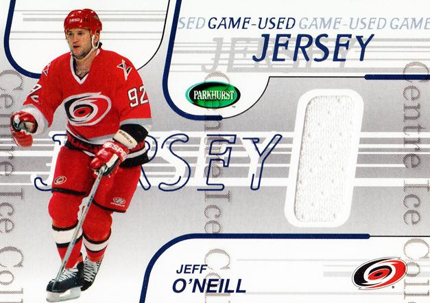 2002-03 Parkhurst Jersey #9 Jeff O'Neill<br/>1 In Stock - $5.00 each - <a href=https://centericecollectibles.foxycart.com/cart?name=2002-03%20Parkhurst%20Jersey%20%239%20Jeff%20O'Neill...&quantity_max=1&price=$5.00&code=562058 class=foxycart> Buy it now! </a>