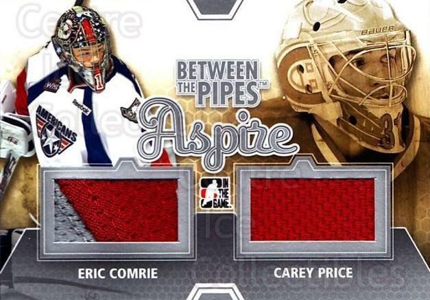2012-13 Between The Pipes Aspire Jersey Silver #1 Eric Comrie, Carey Price<br/>1 In Stock - $15.00 each - <a href=https://centericecollectibles.foxycart.com/cart?name=2012-13%20Between%20The%20Pipes%20Aspire%20Jersey%20Silver%20%231%20Eric%20Comrie,%20Ca...&price=$15.00&code=562737 class=foxycart> Buy it now! </a>