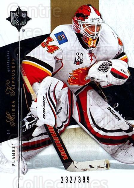 2009-10 UD Ultimate Collection #23 Miikka Kiprusoff<br/>1 In Stock - $5.00 each - <a href=https://centericecollectibles.foxycart.com/cart?name=2009-10%20UD%20Ultimate%20Collection%20%2323%20Miikka%20Kiprusof...&quantity_max=1&price=$5.00&code=563278 class=foxycart> Buy it now! </a>