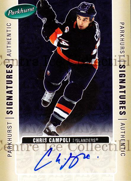2005-06 Parkhurst Signatures #CC Chris Campoli<br/>3 In Stock - $5.00 each - <a href=https://centericecollectibles.foxycart.com/cart?name=2005-06%20Parkhurst%20Signatures%20%23CC%20Chris%20Campoli...&quantity_max=3&price=$5.00&code=565455 class=foxycart> Buy it now! </a>