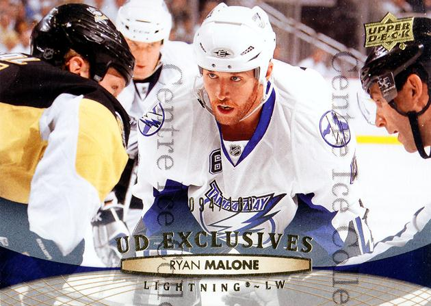 2011-12 Upper Deck UD Exclusives #27 Ryan Malone<br/>1 In Stock - $5.00 each - <a href=https://centericecollectibles.foxycart.com/cart?name=2011-12%20Upper%20Deck%20UD%20Exclusives%20%2327%20Ryan%20Malone...&quantity_max=1&price=$5.00&code=565554 class=foxycart> Buy it now! </a>