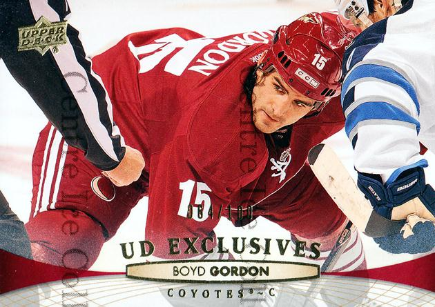 2011-12 Upper Deck UD Exclusives #313 Boyd Gordon<br/>1 In Stock - $5.00 each - <a href=https://centericecollectibles.foxycart.com/cart?name=2011-12%20Upper%20Deck%20UD%20Exclusives%20%23313%20Boyd%20Gordon...&price=$5.00&code=565840 class=foxycart> Buy it now! </a>