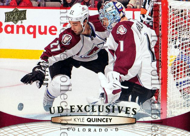 2011-12 Upper Deck UD Exclusives #410 Kyle Quincey<br/>1 In Stock - $5.00 each - <a href=https://centericecollectibles.foxycart.com/cart?name=2011-12%20Upper%20Deck%20UD%20Exclusives%20%23410%20Kyle%20Quincey...&quantity_max=1&price=$5.00&code=565937 class=foxycart> Buy it now! </a>