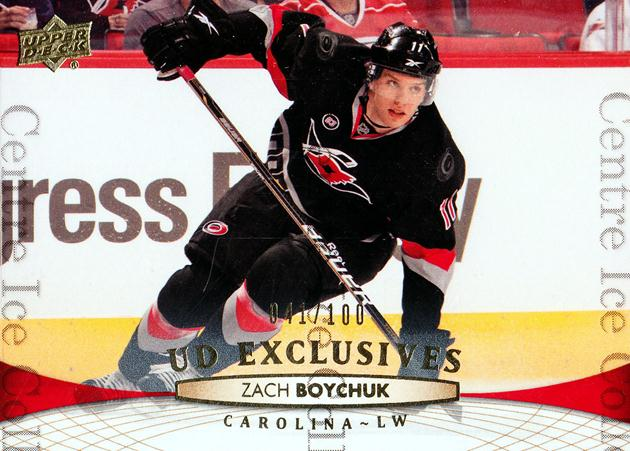 2011-12 Upper Deck UD Exclusives #418 Zach Boychuk<br/>1 In Stock - $5.00 each - <a href=https://centericecollectibles.foxycart.com/cart?name=2011-12%20Upper%20Deck%20UD%20Exclusives%20%23418%20Zach%20Boychuk...&quantity_max=1&price=$5.00&code=565945 class=foxycart> Buy it now! </a>
